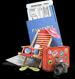 imagem passaporte e malas de viagem